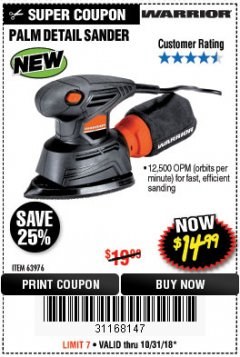 Harbor Freight Coupon WARRIOR PALM DETAIL SANDER Lot No. 63976 Expired: 10/31/18 - $14.99