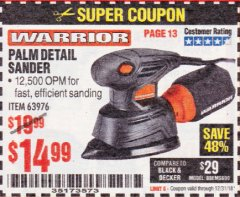 Harbor Freight Coupon WARRIOR PALM DETAIL SANDER Lot No. 63976 Expired: 12/31/18 - $14.99