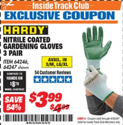 Harbor Freight ITC Coupon NITRILE COASTED GARDENING GLOVES Lot No. 64246/64247 Expired: 4/30/20 - $3.99