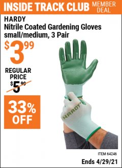 Harbor Freight ITC Coupon NITRILE COASTED GARDENING GLOVES Lot No. 64246/64247 Valid Thru: 4/29/21 - $3.99