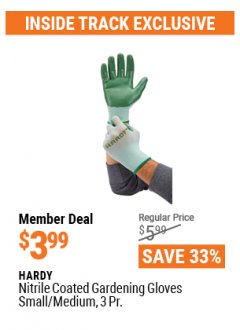 Harbor Freight ITC Coupon NITRILE COASTED GARDENING GLOVES Lot No. 64246/64247 Valid: 1/31/21 - 4/29/21 - $3.99