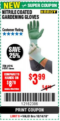 Harbor Freight Coupon NITRILE COASTED GARDENING GLOVES Lot No. 64246/64247 Expired: 10/14/18 - $3.99