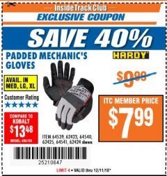 Harbor Freight ITC Coupon HARDY PADDED MECHANIC'S GLOVES Lot No. 64539/62424/64540/62425/64541/62423 Expired: 12/11/18 - $7.99