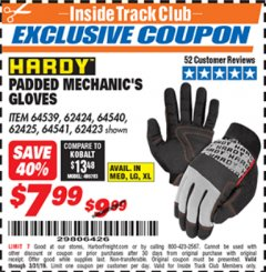 Harbor Freight ITC Coupon HARDY PADDED MECHANIC'S GLOVES Lot No. 64539/62424/64540/62425/64541/62423 Valid Thru: 3/31/19 - $7.99