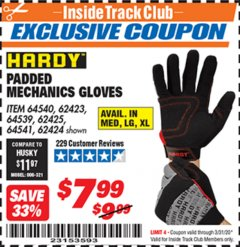 Harbor Freight ITC Coupon HARDY PADDED MECHANIC'S GLOVES Lot No. 64539/62424/64540/62425/64541/62423 Expired: 3/31/20 - $7.99