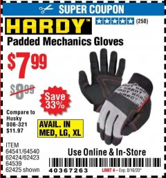Harbor Freight Coupon HARDY PADDED MECHANIC'S GLOVES Lot No. 64539/62424/64540/62425/64541/62423 Valid: 6/24/20 - 8/16/20 - $9.99