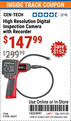 Harbor Freight ITC Coupon HIGH RESOLUTION DIGITAL INSPECTION CAMERA WITH RECORDER Lot No. 60695/67980/61838 Expired: 8/31/20 - $147.99
