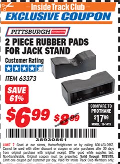 Harbor Freight ITC Coupon PITTSBURGH 2 PIECE RUBBER PADS FOR JACK STAND Lot No. 63373 Expired: 10/31/18 - $6.99