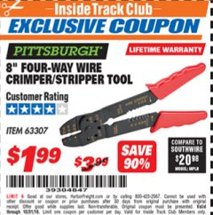 "Harbor Freight ITC Coupon 8"" FOUR-WAY WIRE CRIMPER/STRIPPER TOOL Lot No. 63307 Dates Valid: 12/31/69 - 10/31/18 - $1.99"