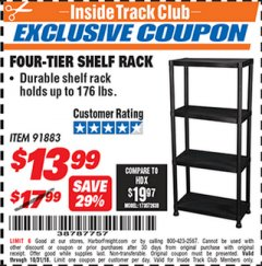 Harbor Freight ITC Coupon FOUR TIER SHELF RACK Lot No. 91883 Dates Valid: 12/31/69 - 10/31/18 - $13.99