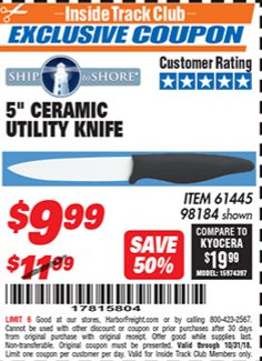 "Harbor Freight ITC Coupon 5"" CERAMIC UTILITY KNIFE Lot No. 61445 98184 Expired: 10/31/18 - $9.99"
