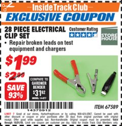 Harbor Freight ITC Coupon 28 PIECE ELECTRICAL CLIP SET Lot No. 67589 Dates Valid: 10/6/18 - 10/31/18 - $1.99