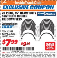 "Harbor Freight ITC Coupon 20 PIECE, 15"" HEAVY DUTY SYNTHETIC RUBBER TIE DOWN SETS Lot No. 63341 Expired: 10/31/18 - $7.99"