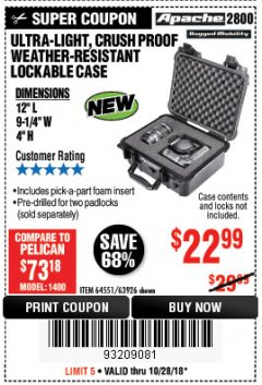 Harbor Freight Coupon ULTRA-LIGHT, CRUSH PROOF WEATHER-RESISTANT LOCKABLE CASE Lot No. 64551/63926 Expired: 10/28/18 - $22.99