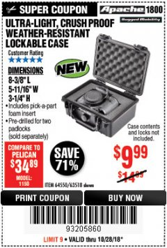 Harbor Freight Coupon ULTRA-LIGHT, CRUSH PROOF WEATHER-RESISTANT LOCKABLE CASE Lot No. 64551/63926 Expired: 10/28/18 - $9.99