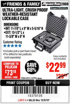 Harbor Freight Coupon ULTRA-LIGHT, CRUSH PROOF WEATHER-RESISTANT LOCKABLE CASE Lot No. 64551/63926 Expired: 12/9/18 - $22.99