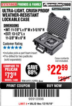 Harbor Freight Coupon ULTRA-LIGHT, CRUSH PROOF WEATHER-RESISTANT LOCKABLE CASE Lot No. 64551/63926 Expired: 12/16/18 - $22.99