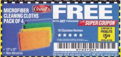 Harbor Freight FREE Coupon MICROFIBER CLEANING CLOTHS PACK OF 4 Lot No. 69678/63358/63363/68440 Valid Thru: 1/31/18 - FWP