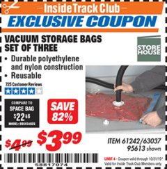 Harbor Freight ITC Coupon VACUUM STORAGE BAGS PACK OF THREE Lot No. 63037/61242/95613 Expired: 10/31/19 - $3.99