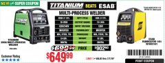 Harbor Freight Coupon TITANIUM UNLIMITED 200 PROFESSIONAL MULTIPROCESS WELDER Lot No. 64806 Expired: 7/7/19 - $649.99