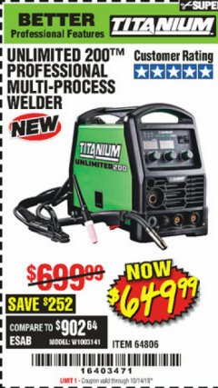 Harbor Freight Coupon TITANIUM UNLIMITED 200 PROFESSIONAL MULTIPROCESS WELDER Lot No. 64806 Expired: 10/14/19 - $649.99