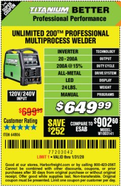 Harbor Freight Coupon TITANIUM UNLIMITED 200 PROFESSIONAL MULTIPROCESS WELDER Lot No. 64806 Expired: 1/31/20 - $649.99