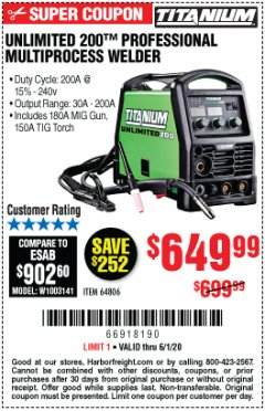 Harbor Freight Coupon TITANIUM UNLIMITED 200 PROFESSIONAL MULTIPROCESS WELDER Lot No. 64806 Valid Thru: 6/1/20 - $649.99