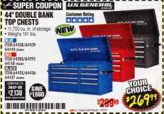"Harbor Freight Coupon 44"" DOUBLE BANK TOP CHESTS Lot No. 64438/64439/64440/64280/64293/64158/64435/64436/64437/64957/64958/64959 Expired: 11/30/18 - $269.99"