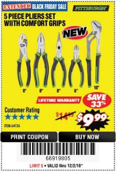 Harbor Freight Coupon 5-PIECE PLIERS SET WITH COMFORT GRIPS Lot No. 64136 Expired: 12/2/18 - $9.99