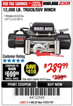Harbor Freight Coupon BADLAND ZXR12000 12000 LB. OFF-ROAD VEHICLE ELECTRIC WINCH WITH AUTOMATIC LOAD-HOLDING BRAKE Lot No. 64045/64046/63770 Expired: 12/31/18 - $289.99