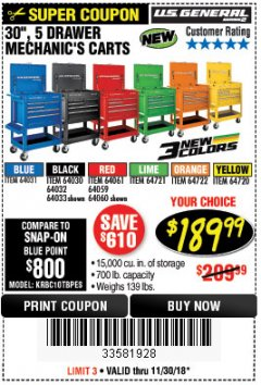 "Harbor Freight Coupon 30"", 5 DRAWER MECHANIC'S CARTS (ALL COLORS) Lot No. 64031/64030/64032/64033/64061/64060/64059/64721/64722/64720 Expired: 11/30/18 - $189.99"