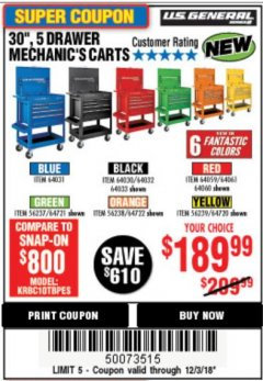 "Harbor Freight Coupon 30"", 5 DRAWER MECHANIC'S CARTS (ALL COLORS) Lot No. 64031/64030/64032/64033/64061/64060/64059/64721/64722/64720 Expired: 12/3/18 - $189.99"