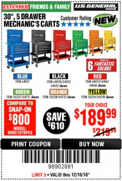 "Harbor Freight Coupon 30"", 5 DRAWER MECHANIC'S CARTS (ALL COLORS) Lot No. 64031/64030/64032/64033/64061/64060/64059/64721/64722/64720 Expired: 12/16/18 - $189.99"