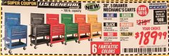 "Harbor Freight Coupon 30"", 5 DRAWER MECHANIC'S CARTS (ALL COLORS) Lot No. 64031/64030/64032/64033/64061/64060/64059/64721/64722/64720 Expired: 2/28/19 - $189.99"