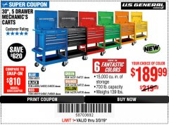 "Harbor Freight Coupon 30"", 5 DRAWER MECHANIC'S CARTS (ALL COLORS) Lot No. 64031/64030/64032/64033/64061/64060/64059/64721/64722/64720 Expired: 3/3/19 - $189.99"