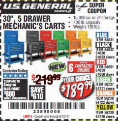 "Harbor Freight Coupon 30"", 5 DRAWER MECHANIC'S CARTS (ALL COLORS) Lot No. 64031/64030/64032/64033/64061/64060/64059/64721/64722/64720 Expired: 6/12/19 - $189.99"