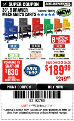 "Harbor Freight Coupon 30"", 5 DRAWER MECHANIC'S CARTS (ALL COLORS) Lot No. 64031/64030/64032/64033/64061/64060/64059/64721/64722/64720 Expired: 3/17/19 - $189.99"
