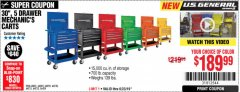 "Harbor Freight Coupon 30"", 5 DRAWER MECHANIC'S CARTS (ALL COLORS) Lot No. 64031/64030/64032/64033/64061/64060/64059/64721/64722/64720 Expired: 6/23/19 - $189.99"