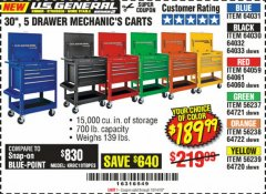"Harbor Freight Coupon 30"", 5 DRAWER MECHANIC'S CARTS (ALL COLORS) Lot No. 64031/64030/64032/64033/64061/64060/64059/64721/64722/64720/56429 Valid Thru: 10/14/19 - $189.99"