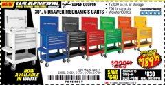 "Harbor Freight Coupon 30"", 5 DRAWER MECHANIC'S CARTS (ALL COLORS) Lot No. 64031/64030/64032/64033/64061/64060/64059/64721/64722/64720/56429 Valid Thru: 11/12/19 - $189.99"