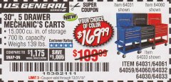 "Harbor Freight Coupon 30"", 5 DRAWER MECHANIC'S CARTS (ALL COLORS) Lot No. 64031/64030/64032/64033/64061/64060/64059/64721/64722/64720/56429 Valid Thru: 12/31/19 - $169.99"
