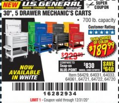 "Harbor Freight Coupon 30"", 5 DRAWER MECHANIC'S CARTS (ALL COLORS) Lot No. 64031/64030/64032/64033/64061/64060/64059/64721/64722/64720/56429 Valid Thru: 12/31/20 - $189.99"