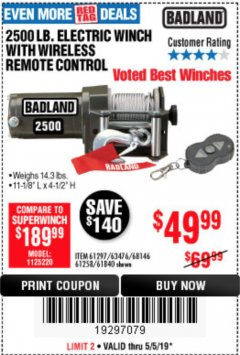Harbor Freight Coupon 2500 LB. ELECTRIC WINCH Lot No. 61297 Expired: 5/5/19 - $49.99