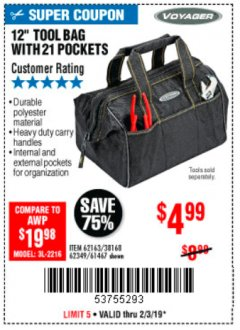 "Harbor Freight Coupon VOYAGER 12"" WIDE MOUTH TOOL BAG Lot No. 38168/62163/62349/61467 Expired: 2/3/19 - $4.99"
