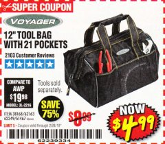"Harbor Freight Coupon VOYAGER 12"" WIDE MOUTH TOOL BAG Lot No. 38168/62163/62349/61467 Expired: 2/28/19 - $4.99"