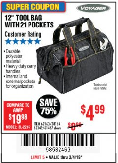 "Harbor Freight Coupon VOYAGER 12"" WIDE MOUTH TOOL BAG Lot No. 38168/62163/62349/61467 Expired: 3/4/19 - $4.99"