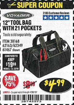 "Harbor Freight Coupon VOYAGER 12"" WIDE MOUTH TOOL BAG Lot No. 38168/62163/62349/61467 Valid Thru: 4/30/19 - $4.99"