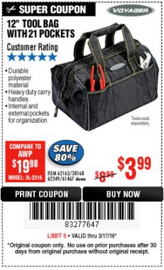 "Harbor Freight Coupon VOYAGER 12"" WIDE MOUTH TOOL BAG Lot No. 38168/62163/62349/61467 Expired: 3/17/19 - $3.99"