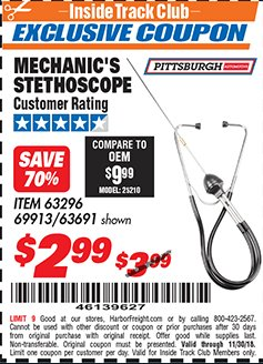 Harbor Freight ITC Coupon MECHANIC'S STETHOSCOPE Lot No. 63296/69913/63691 Expired: 11/30/18 - $2.99