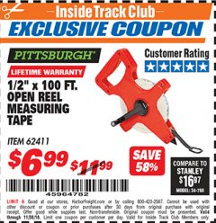 "Harbor Freight ITC Coupon 1/2"" X 100 FT. OPEN REEL MEASURING TAPE Lot No. 62411 Expired: 11/30/18 - $6.99"